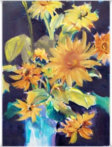 Sunflowers In Blue Vase10 x 14″, aqua media $220 Also available as Giclées and canvas prints …