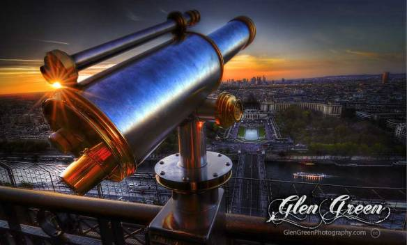 Telescope and Sunset, Eiffel Tower, Paris France Photo by Glen Green