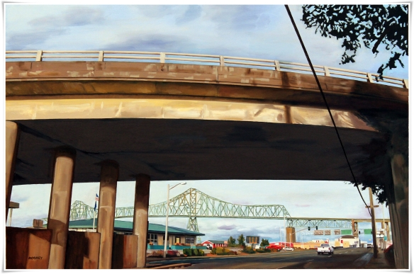 "Astoria Bridge,                                  oil on canvas,  24""x36"",  $2,000"