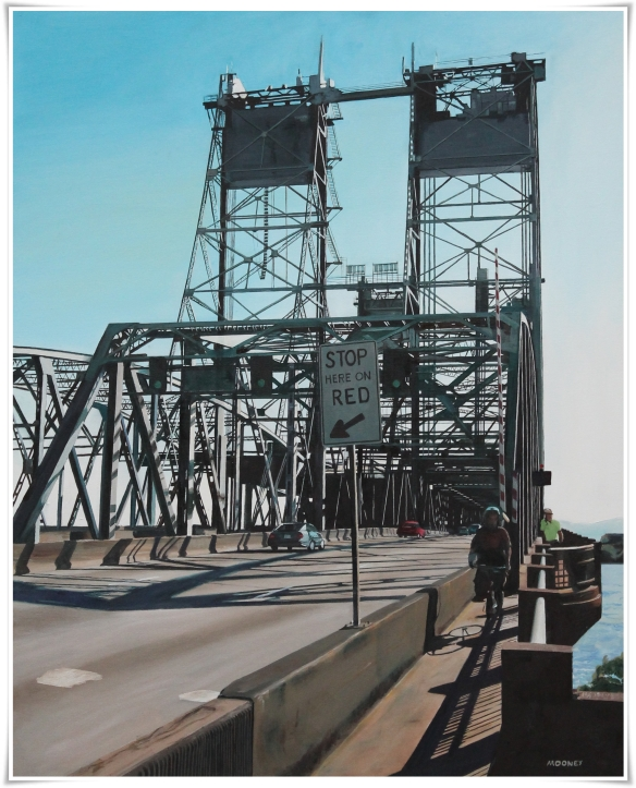 "I-5 Bridge,  Vancouver, WA,          oil on canvas,  32""x40"",  $2500"